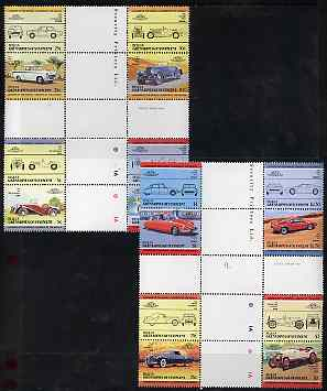 St Vincent - Bequia 1984 Cars #2 (Leaders of the World) set of 16 in se-tenant cross-gutter blocks (folded through gutters or perfs) from uncut archive proof sheet, some split perfs & wrinkles but a rare archive item unmounted mint