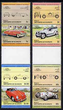 St Vincent - Bequia 1984 Cars #1 (Leaders of the World) set of 8 in se-tenant gutter pairs (folded through gutters or perfs) from uncut archive proof sheet, unmounted mint