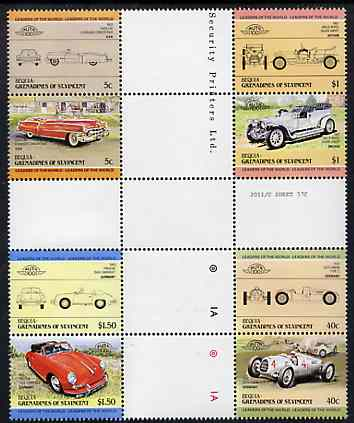 St Vincent - Bequia 1984 Cars #1 (Leaders of the World) set of 8 in se-tenant cross-gutter blocks (folded through gutters or perfs) from uncut archive proof sheet, some split perfs & wrinkles but a rare archive item unmounted mint