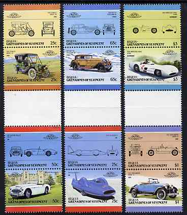 St Vincent - Bequia 1986 Cars #5 (Leaders of the World) set of 12 in se-tenant gutter pairs (folded through gutters or perfs) from uncut archive proof sheet unmounted mint