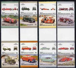St Vincent - Bequia 1987 Cars #7 (Leaders of the World) set of 16 in se-tenant gutter pairs (folded through gutters or perfs) from uncut archive proof sheet unmounted mint