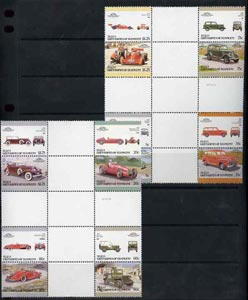 St Vincent - Bequia 1987 Cars #7 (Leaders of the World) set of 16 in se-tenant cross-gutter block (folded through gutters) from uncut archive proof sheet, some split perfs & wrinkles but a rare archive item unmounted mint
