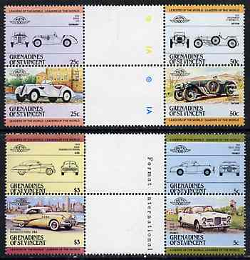 St Vincent - Grenadines 1984 Cars #1 (Leaders of the World) set of 8 in se-tenant gutter pairs (folded through gutters or perfs) from uncut archive proof sheet, SG 339-46 unmounted mint