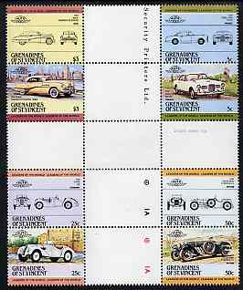 St Vincent - Grenadines 1984 Cars #1 (Leaders of the World) set of 8 in se-tenant cross-gutter block (folded through gutters) from uncut archive proof sheet, some split perfs & wrinkles but a rare archive item, unmounted mint SG 339-46