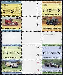 St Vincent - Grenadines 1985 Cars #2 (Leaders of the World) set of 8 in se-tenant cross-gutter block (folded through gutters) from uncut archive proof sheet, some split perfs & wrinkles but a rare archive item unmounted mint (SG 378-85)