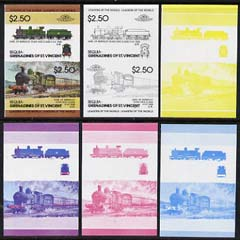 St Vincent - Bequia 1984 Locomotives #2 (Leaders of the World) $2.50 (4-4-0 Earl of Berkeley) set of 6 imperf se-tenant progressive proof pairs comprising the 4 individual colours plus 2-colour and all 4-colour composites unmounted mint
