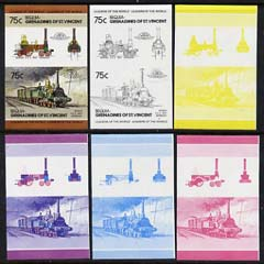 St Vincent - Bequia 1984 Locomotives #2 (Leaders of the World) 75c (4-4-2 Borsig) set of 6 imperf se-tenant progressive proof pairs comprising the 4 individual colours plus 2-colour and all 4-colour composites unmounted mint