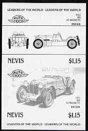 Nevis 1985 $2.50 MG Midget (1930) imperf progressive colour proof in se-tenant pair in black only (as SG 261a) unmounted mint