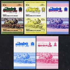 St Vincent - Bequia 1984 Locomotives #2 (Leaders of the World) 10c (4-4-2 Thundersley) set of 5 imperf se-tenant progressive proof pairs comprising two individual colours, two 2-colour and all 4-colour composites unmounted mint