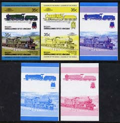 St Vincent - Bequia 1984 Locomotives #2 (Leaders of the World) 35c (4-6-0 Manor Class) set of 5 imperf se-tenant progressive proof pairs comprising two individual colours, two 2-colour and all 4-colour composites unmounted mint