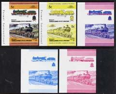 St Vincent - Bequia 1984 Locomotives #2 (Leaders of the World) 5c (4-4-2 Jersey Lily) set of 5 imperf se-tenant progressive proof pairs comprising two individual colours, two 2-colour and all 4-colour composites unmounted mint