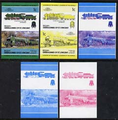 St Vincent - Bequia 1984 Locomotives #2 (Leaders of the World) 1c (4-6-2 Class S3/6) set of 5 imperf se-tenant progressive proof pairs comprising two individual colours, two 2-colour and all 4-colour composites unmounted mint