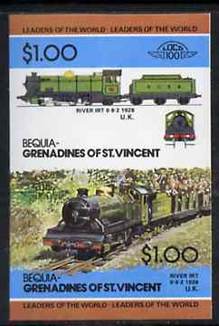 St Vincent - Bequia 1984 Locomotives #2 (Leaders of the World) $1.00 (0-8-2 River Irt) imperf se-tenant pair unmounted mint*