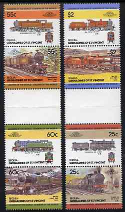 St Vincent - Bequia 1985 Locomotives #3 (Leaders of the World) set of 8 in se-tenant gutter pairs (folded through gutters or perfs) from uncut archive proof sheets unmounted mint