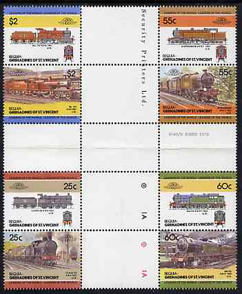 St Vincent - Bequia 1985 Locomotives #3 (Leaders of the World) set of 8 in se-tenant cross-gutter block (folded through gutters) from uncut archive proof sheet, some split perfs & wrinkles but a rare archive item unmounted mint
