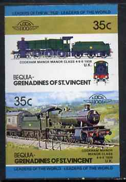 St Vincent - Bequia 1984 Locomotives #2 (Leaders of the World) 35c (4-6-0 Manor Class) imperf se-tenant pair unmounted mint*