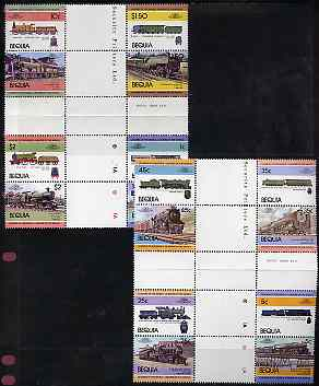 St Vincent - Bequia 1984 Locomotives #1 (Leaders of the World) set of 16 in se-tenant cross-gutter block (folded through gutters) from uncut archive proof sheet, some split perfs & wrinkles but a rare archive item unmounted mint