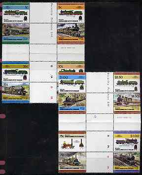 St Vincent - Bequia 1984 Locomotives #2 (Leaders of the World) set of 16 in se-tenant cross-gutter block (folded through gutters) from uncut archive proof sheet, some split perfs & wrinkles but a rare archive item unmounted mint