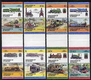 St Vincent - Grenadines 1984 Locomotives #2 (Leaders of the World) set of 16 in se-tenant gutter pairs (folded through gutters) from uncut archive proof sheets (SG 311-26) unmounted mint