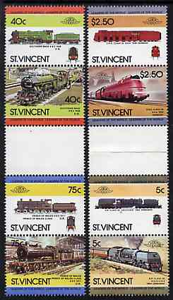 St Vincent 1984 Locomotives #3 (Leaders of the World) set of 8 in se-tenant gutter pairs (folded through gutters or perfs) from uncut archive proof sheets unmounted mint (SG 834-41)