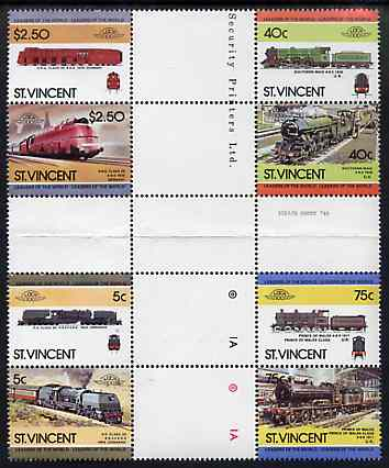 St Vincent 1984 Locomotives #3 (Leaders of the World) set of 8 in se-tenant cross-gutter block (folded through perfs or gutters) from uncut archive proof sheet, some split perfs & wrinkles but a rare archive item (SG 834-41) unmounted mint