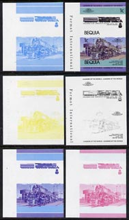 St Vincent - Bequia 1984 Locomotives #1 (Leaders of the World) 1c (Challenger Class) set of 6 imperf se-tenant progressive proof pairs comprising the four individual colours, 2-colour and all 4-colour composites unmounted mint
