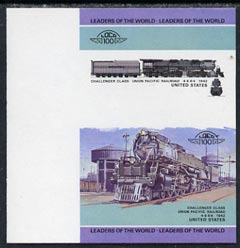 St Vincent - Bequia 1984 Locomotives #1 (Leaders of the World) 1c (Challenger Class) imperf se-tenant progressive proof pair with Country name and value omitted unmounted mint