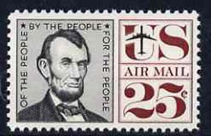 United States 1959 Abraham Lincoln 25c unmounted mint, SG A1141*