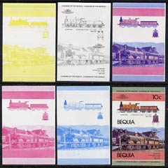 St Vincent - Bequia 1984 Locomotives #1 (Leaders of the World) 10c (Gladstone Class) set of 6 imperf se-tenant progressive proof pairs comprising the four individual colours, 2-colour and all 4-colour composites unmounted mint