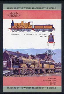 St Vincent - Bequia 1984 Locomotives #1 (Leaders of the World) 10c (Gladstone Class) imperf se-tenant progressive proof pair with Country name and value omitted unmounted mint