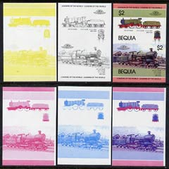 St Vincent - Bequia 1984 Locomotives #1 (Leaders of the World) $2 (City of Truro) set of 6 imperf se-tenant progressive proof pairs comprising the four individual colours, 2-colour and all 4-colour composites unmounted mint