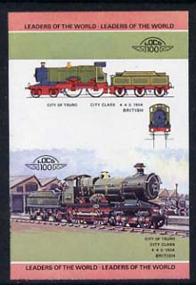 St Vincent - Bequia 1984 Locomotives #1 (Leaders of the World) $2 (City of Truro) imperf se-tenant progressive proof pair with Country name and value omitted unmounted mint