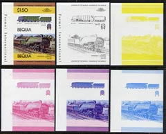 St Vincent - Bequia 1984 Locomotives #1 (Leaders of the World) $1.50 (Experimental Loco) set of 6 imperf se-tenant progressive proof pairs comprising the four individual colours, 2-colour and all 4-colour composites unmounted mint