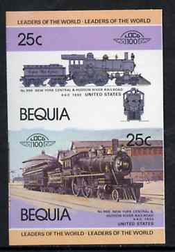 St Vincent - Bequia 1984 Locomotives #1 (Leaders of the World) 25c (4-4-0 New York Central & Hudson River) se-tenant imperf proof pair in issued colours from limited printing unmounted mint, stamps on railways