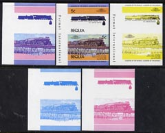 St Vincent - Bequia 1984 Locomotives #1 (Leaders of the World) 5c (4-8-4 Atcheson, Topeka & Santa Fe) set of 5 imperf se-tenant progressive proof pairs comprising two individual colours, two 2-colour and all 4-colour composites unmounted mint, stamps on railways      bridges