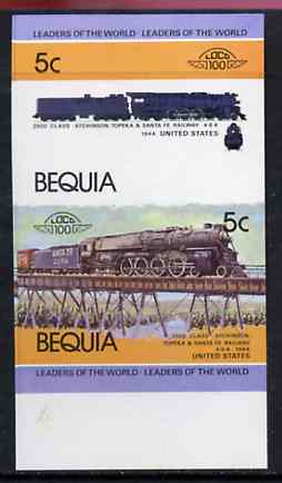 St Vincent - Bequia 1984 Locomotives #1 (Leaders of the World) 5c (4-8-4 Atcheson, Topeka & Santa Fe) se-tenant imperf proof pair in issued colours from limited printing, unmounted mint