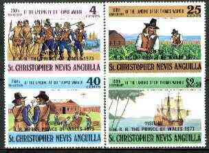 St Kitts-Nevis 1973 Royal Visit of Prince of Wales opts on Thomas Warner set of 4, SG 265-68 unmounted mint*