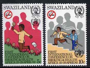 Swaziland 1982 Pan African Conference on Smoking & Health set of 2 unmounted mint, SG 397-98*