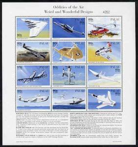 Palau 1996 Oddities of the Air sheetlet containing set of 12 with definitions in lower margin, unmounted mint SG 1118-29
