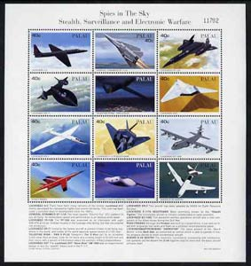 Palau 1996 Spy Planes sheetlet containing set of 12 with definitions in lower margin, unmounted mint SG 1085-96, stamps on aviation, stamps on lockheed, stamps on boeing