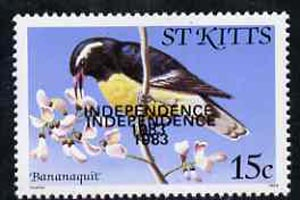 St Kitts 1983 Independence overprint on Bananaquit Bird 15c with overprint doubled unmounted mint, SG 119Ba (blocks & gutter pairs pro rata)