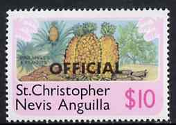 St Kitts-Nevis 1980 Pineapple & Peanuts $10 from 'OFFICIAL' opt  set unmounted mint, SG O9*
