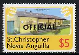 St Kitts-Nevis 1980 Brewery $5 from 'OFFICIAL' opt  set, SG O8 unmounted mint*