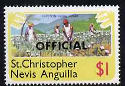 St Kitts-Nevis 1980 Cotton Picking $1 from 'OFFICIAL' opt  set, SG O7 unmounted mint*