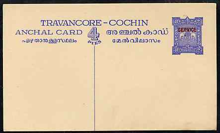 Indian States - Travancore-Cochin 1950c 4 pies p/stat card (Elephants) as H & G 4 but overprinted SERVICE in red