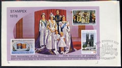 Exhibition souvenir sheet for 1978 Stampex showing  Silver Jubilee stamps from Barbados, S Georgia & Tristan on piece with special Stampex cancel