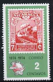 Nicaragua 1974 UPU Centenary 2c showing 1937 Railway stamp, SG 1935