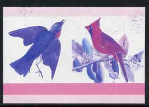 Nevis 1985 Bluebird & Cardinal (John Audubon 5c) imperf progressive colour proof se-tenant pair printed in magenta & blue only (as SG 269a) unmounted mint
