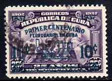 Cuba 1937 Railway Centenary 10c on 25c fine used, SG 425