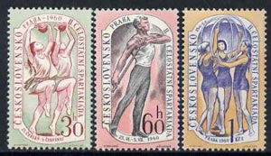 Czechoslovakia 1960 2nd National Spartacist Games (2nd Issue) set of 3 unmounted mint, SG 1160-62, Mi 1203-05*